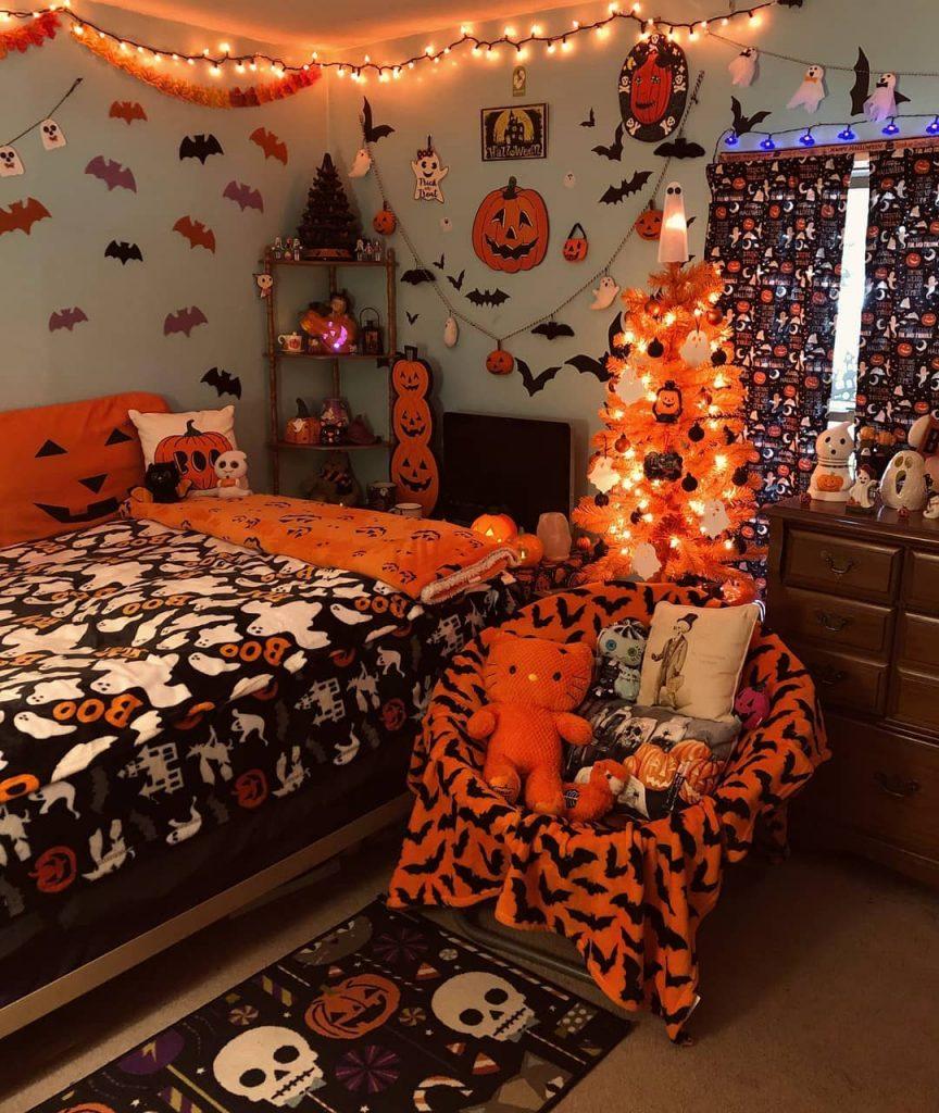 20+ Cozy But Spooky Halloween Bedroom Decoration Ideas (36)
