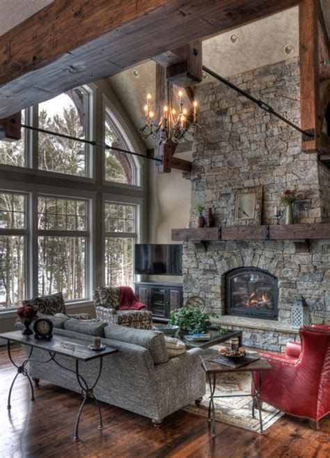 Warm Rustic Family Room Designs For The Winter 05