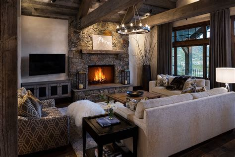 Warm Rustic Family Room Designs For The Winter 09