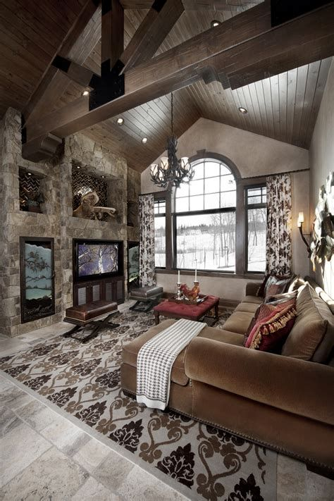 Warm Rustic Family Room Designs For The Winter 10
