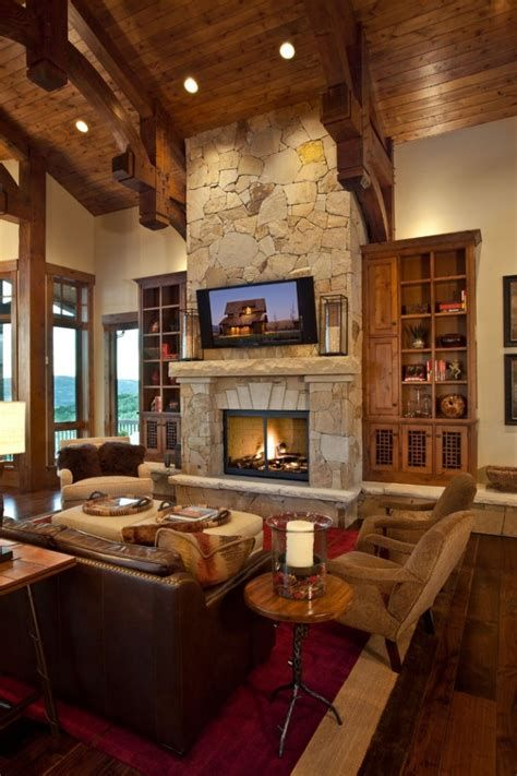 Warm Rustic Family Room Designs For The Winter 18