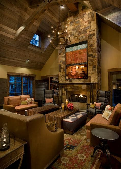 Warm Rustic Family Room Designs For The Winter 23