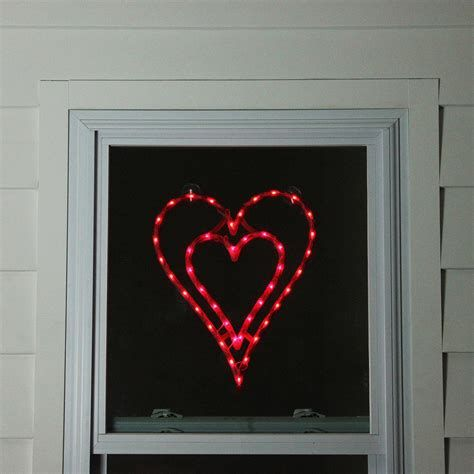 Comfy Lighted Valentine Window Decorations Ideas 38